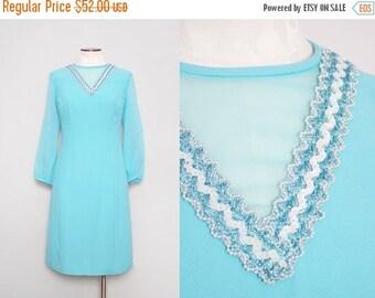 SALE 1970s Blue Party Dress / Vintage 70s Illusion Dress / Large