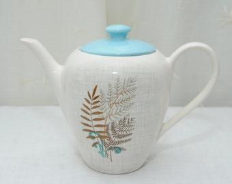 J & G Meakin 'Rock Fern' Tea Pot in Powder Blue and White