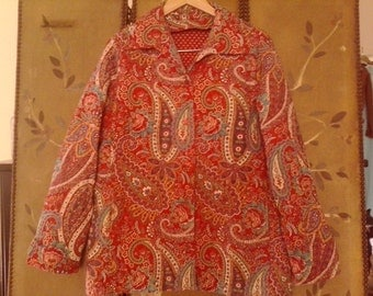 80s red paisley quilted jacket