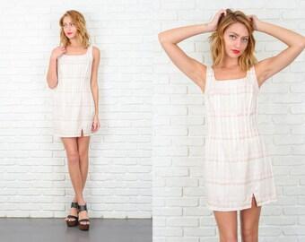 Vintage 80s Pink + White Retro Dress Mini Plaid Striped Small S 5273