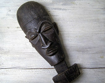Vintage Wooden Totem Head Figurine, South America Folk Art Handcarved Tall Man Face Floor Statue, Collectible Tribal Black Wood Sculpture