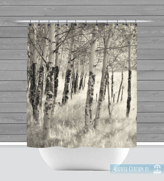 Birch Trees Shower Curtain Rustic Nature Americana 12