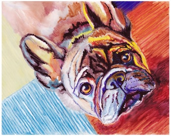 "8x10"" French Bulldog Watercolor Giclee Fine Art Print [French Bulldog Art, French Bulldog Art Print, Unique Dog Wall Décor, Funky Dog Art]"