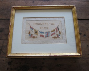 Antique WW1 Silk Embroidery Allies Flags Framed