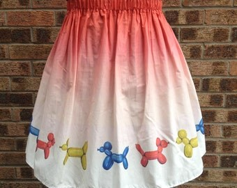 Red Dip-Dye Balloon Dog Skirt