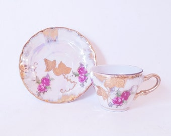Vintage Demitasse Cups Saucers Hand Painted  Gold Florals Lustre Ware Tea Cups Saucers Hostess Holiday Gift under 20