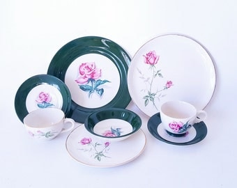 On Sale Midcentury TST Plates Bowls Cups Saucers Dark Green Rim Pink Rose Center Mix Match China Dinnerware Uniquely Yours