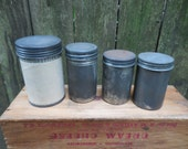 Vintage Small Tin Storage Tins (Set of Four)