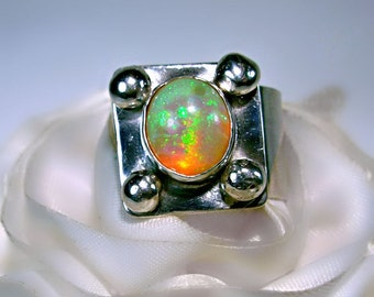 Large Fiery Opal  Ring, Ethiopian, Sterling Silver Statement Ring, 1/2 inch Wide Band, October Birthstone, Multi-color flash, gr8 gift idea
