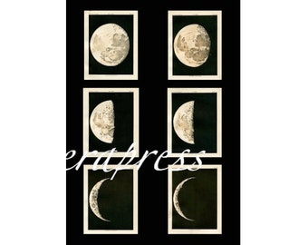 MOON PHASES set of 6 celestial astronomy prints