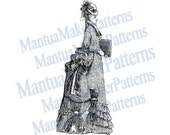 Victorian Dress Engraving w/ Draped Bustle, Instant Digital Download, JPG & PNG, 1875 #4