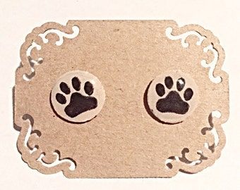 Paw Prints on Nude - Hand Painted Earring Studs