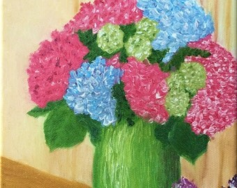 Sale: Hydrangeas in a green vase. Thick Impasto Brushstrokes, Original Handpainted Oil Painting. Flowers, size 6 x 6 canvas