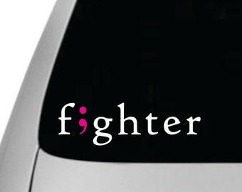 Fighter Breast Cancer Semicolon Car Vinyl Sticker, Removable, Semi-colon Sticker, Car Decal, Semi-colon car sticker, semi colon, awareness