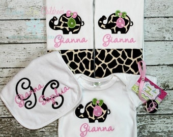 Baby Gift Set - 2 Burp Cloths, Bodysuit, Bib, Pacifier Clip - Personalized Baby Gift Set