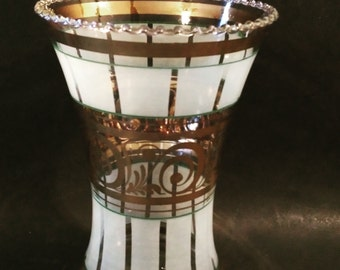 Vintage Gold and White Vase with Hobnail Rim