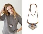 Rope Pendant, Tassel Necklace, Fiber Art Necklace, Long Necklace, Brass Bar Necklace