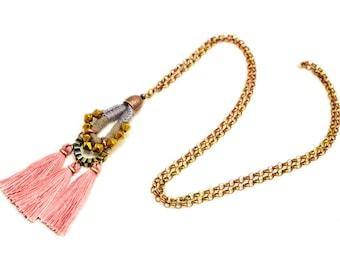 Long Tassel Necklace, Boho Tassel Pendant, Hippie Necklace, Aztec Style Necklace, Long Necklace with Charm