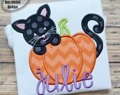 Black Cat with Pumpkin - Halloween Applique Shirt customized with name - Girl's Halloween Shirt - Holiday Designs - Monogrammed Shirt
