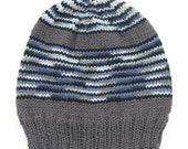 Mens Unisex Knitted Grey Blue White bold stripe Winter Wool Beanie. Size - ADULT . Handmade  . A Great Gift Idea . Made in Australia
