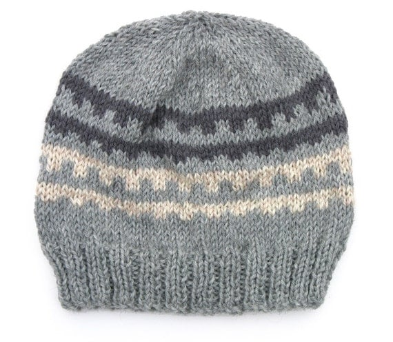 Boys / Unisex Retro Handmade Knitted Wool Charcoal Grey & Natural / Oatmeal Beanie Hat  . Size - Age: 4 5 6 7 8 9 . Made in Australia