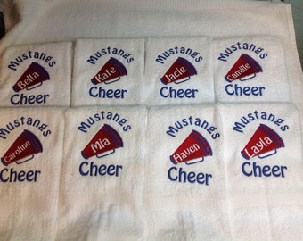 10 Cheerleader towels, Cheerleading gift,  Megaphone, personalized towel, any color choices