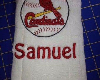 Personalized St Louis Cardinals burp cloths, Cardinals Bib, Embroidered, Made to Order, Cardinals Fan