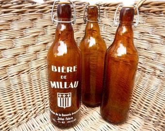 Vintage French Bottles Set of 3 Cider Glass Beer Bottles Porcelain Tops Amber French Kitchen France Decor