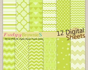 "ON SALE digital download paper 12""x12"",lime green digital paper,No.257/2 green printable backgroundchevron paper, instant download"