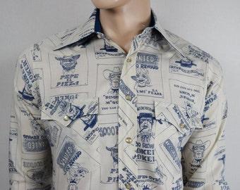 Vintage 1960's Men's H BAR C California CaRtOOn Wanted Poster NoVeLtY Western Yoked Shirt M