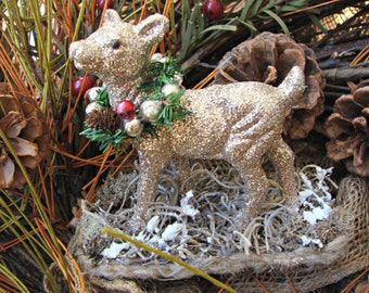 Champagne Gittered Deer with Vintage Mercury Glass and Winter Greens Wreath
