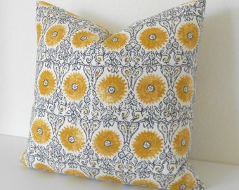 Double sided, Yellow and gray medallion floral decorative throw pillow cover, yellow suzani pillow cover