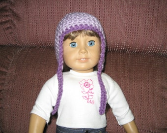 Ear Flap hat - Light Purple lavender with darker purple trim- for American Girl Dolls and other 18 Inch dolls Also fits Bitty Baby