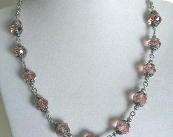 Peach Swarovski  Necklace.