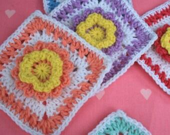 Crochet Square Pattern - Pretty Flower Square - PDF Instant Download