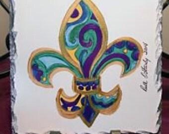 Fleur de Lis Slate - Fleur de Lis Home Decor - Original Art - New Orleans Fleur de Lis - New Orleans Home Decor - Gift Idea - Decor Gift