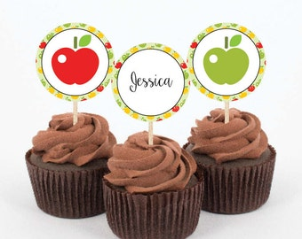 Instant Download -  5 Printable Cupcake Toppers - Modern Apple