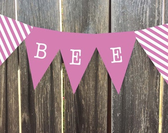 Instant Download - Printable Pennant, Bunting Banner - Pink - Matches Bird Nest Line