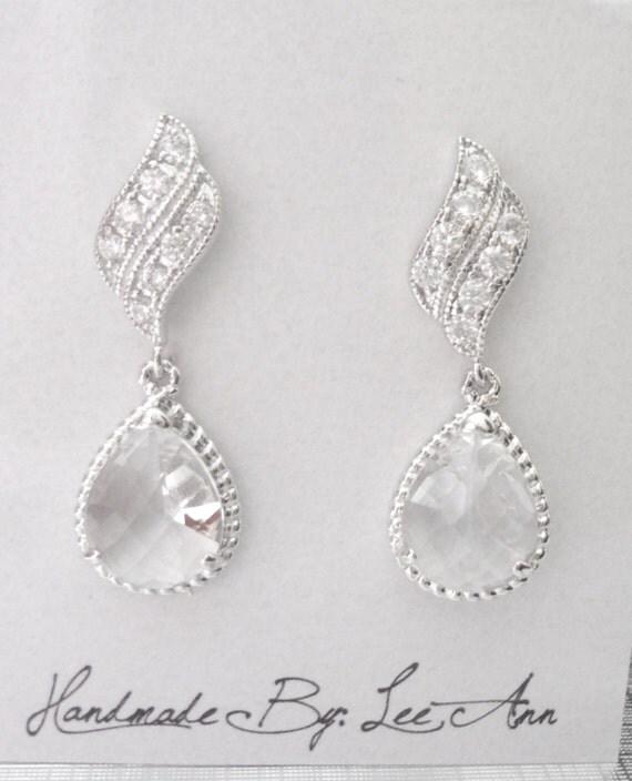 Bridal Jewelry - Silver Earrings - Clear Teardrops - Sterling silver posts - Crystal Wave - Bridesmaids -  Wedding earrings ~ OUTSTANDING -