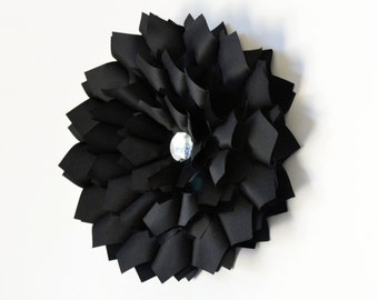 Wall Flower, Black Satin Wall Art, Wall Hanging, Wall Art, 3D Flower Art, Wall Decor