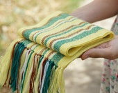 handwoven wrap yellow green merino wool scarf for baby READY TO SHIP! Baby Scarf