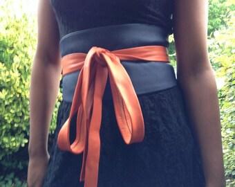 XX-Long dark blue and orange patchwork genuine leather obi belt, corset belt, wide obi belt, japanese style belt, female cincher
