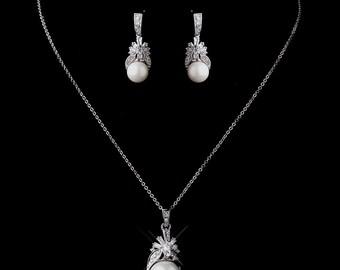 Bridal Jewelry, Pearl Jewelry Set, Pearl Drop Earrings, Necklace, Jewelry Set, Wedding Jewelry Set, Bridesmaids Jewelry Set