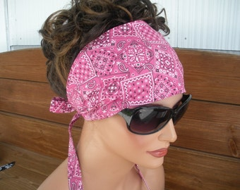 Womens Headband Fabric Headband Summer Fashion Accessories Womens Headwrap Headscarf in Pink Bandana print