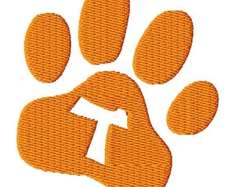 Paw Print Letter T Embroidery Design - Instant Download