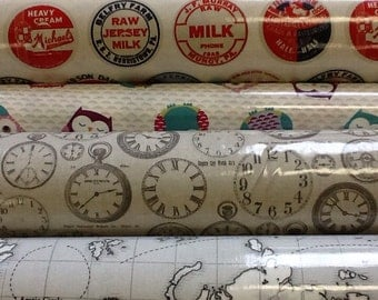 Fryetts pvc vinyl tablecloth by the half metre availble in milk, owls, clocks and maps