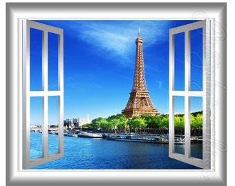3D Window Wall Decal Eiffel Tower Paris France 3D Wall Decals Window Frame Home Decor GJ12