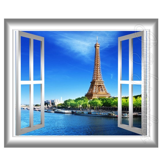 3D Window Wall Decal Eiffel Tower Paris France 3D Wall Decals