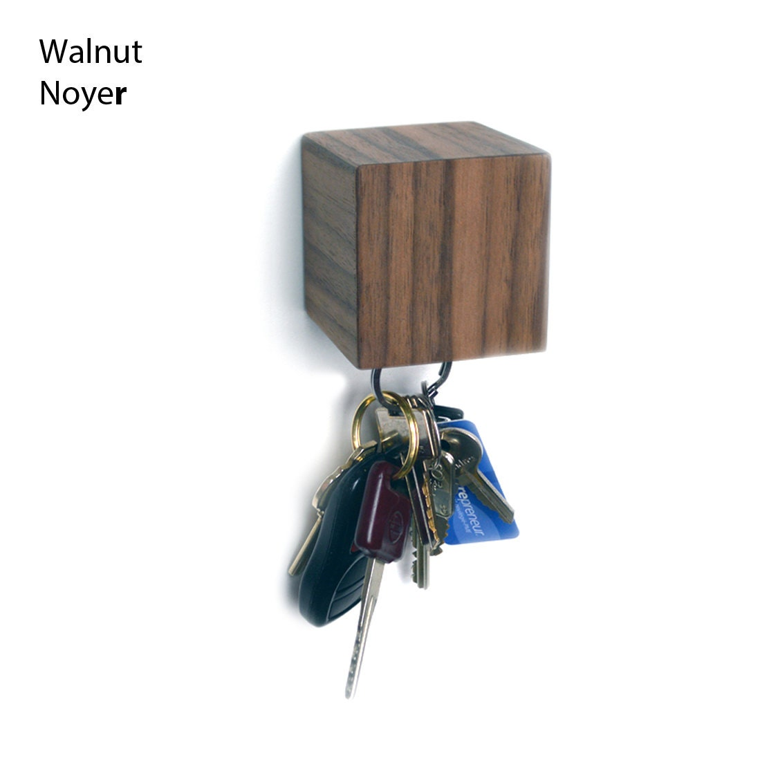 Kube Wall Mounted Magnetic Key Holder Walnut Mahogany