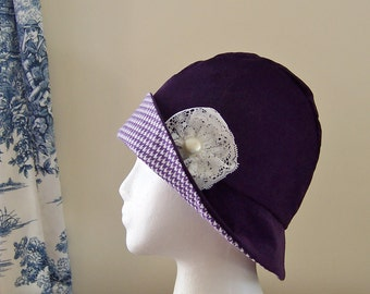 Women's Chemo Hat Cloche Style in Plum Corduroy with Houndstooth Flannel Lining and vintage lace accent Ready to Ship Cancer Patient Gift